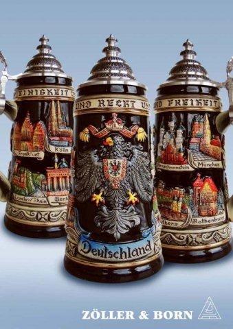 Zoeller & Born Black Deutschland Eagle City German Beer Stein 0.75 Liter