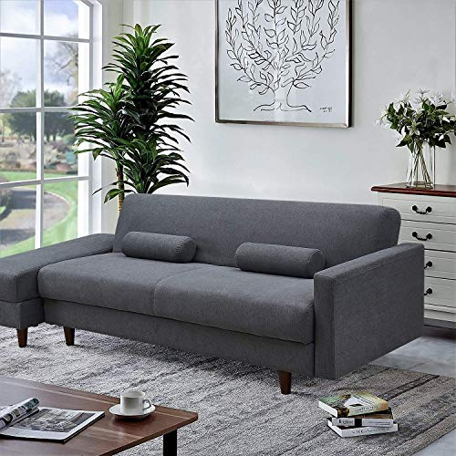 Convertible Sectional Sofa Couch with Storage, L-Shaped Couch with Modern Linen Fabric for Small Space (Dark Grey)