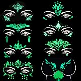 8Sets Noctilucent Face Gems Body Stickers Glow in the Dark Luminous Face Jewels fluorescent face tattoo crystals rhinestone sticker body jewelry for halloween