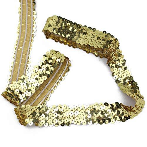 Elastic Sequin Ribbon Trim, Flat Glitter Stretch Fabric Ribbon, Metallic Gleaming Appliqué Sewing Trim Lace for Dance Dress Embellish Headband Supplies, 10 Yards 1Inch Wide (Gold)
