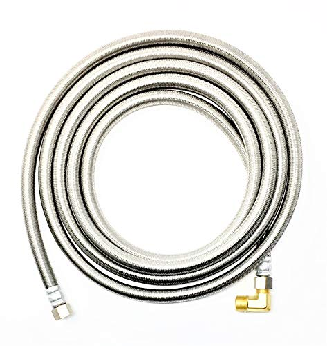 "Shark Industrial Premium Stainless Steel Dishwasher Hose - 10 FT No-Lead Burst Proof Water Supply Line 3/8"" comp x 3/8"" comp with attached 90 degree 3/8"" comp x 3/8"" MIP elbow - 10 year warranty"