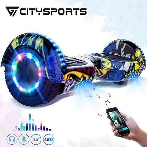 CITYSPORTS Hoverboard 6,5 Zoll,Bluetooth Hover Board 700W Motor mit LED-Blitzrädern,Elektroscooter für Erwachsene,Elektro Skateboard Self Balance Scooter