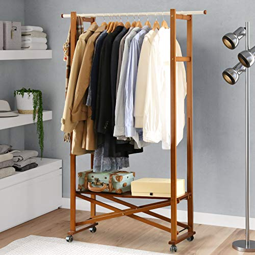 Vlush Wooden Garment Coat Rack, Heavy Duty Clothes Rack with Storage Shelf and Wheels for Entryway and Bed Room, Brown