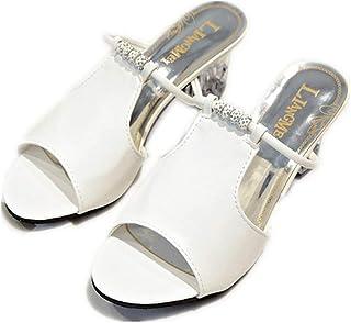 Cosplay-X Women Peep Toe Mid Heel Slip on Mules Cut Out Slide Slipper Clear Chunky Heel Shoes