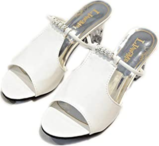 Cosplay-X Women Peep Toe Mid Heel Slip on Mules Cut Out Slide Slipper Clear Chunky Heel Shoes