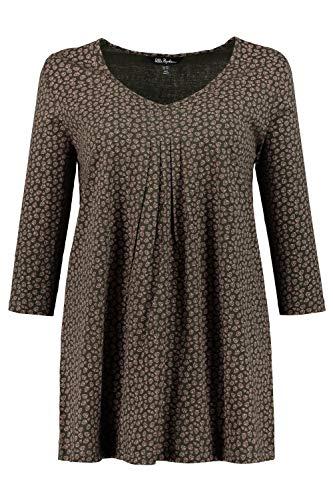Ulla Popken Damen Minimalprint, 3/4 Arm, A-Linie T-Shirt, Türkis (Türkis 46), (Herstellergröße: 50+)