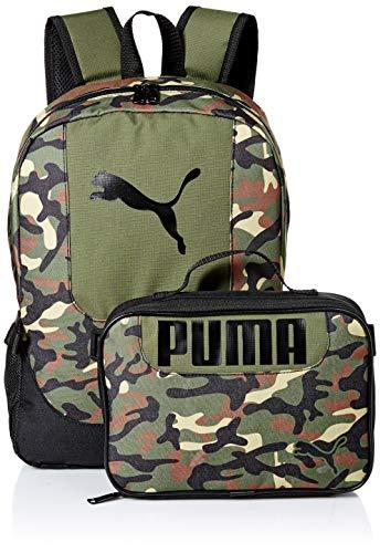 PUMA Kids' Big Evercat Backpack & Lunch Kit Combo, Olive, Youth Size