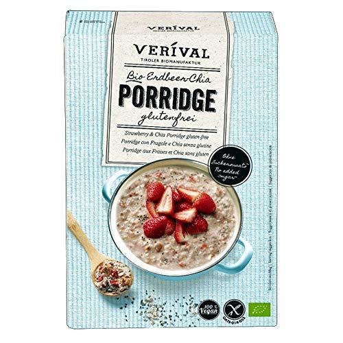 VERIVAL Porridge Erdbeer Chia Glutenfrei | 350g Einzelpackung | vegan | ohne Palmöl | glutenfrei | ohne Zuckerzusatz | hangefertigt in Tirol