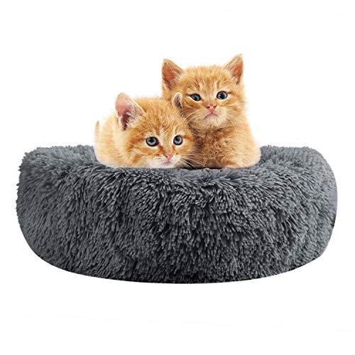 Cama redonda para perro, gato, peluche suave, caseta para cachorros, mullida, alfombra de nido para animales de compañía, cálida, cómoda, cojín ortopédico para aliviar el sueño, el moisés o el gato.