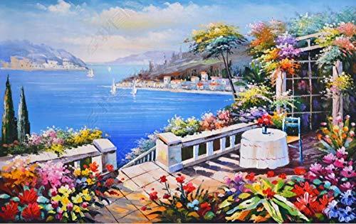 1000 hölzerne Puzzleteile, sonniger Garten, mediterrane Ölgemälde-Landschaft