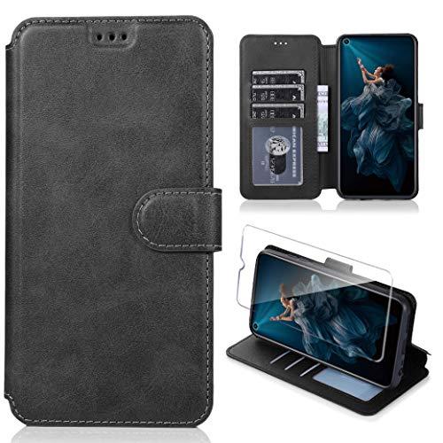 Hülle für Huawei nova 5T/Honor 20 ,Premium PU Leder Flip Schutzhülle mit [Kartensteckplätze], [Ständer] [Magnetverschluss] Magnetisches Flip Wallet Case (Schwarz)
