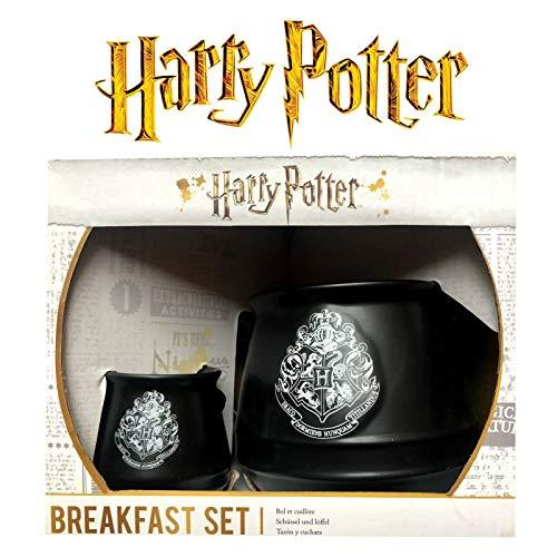 Harry Potter - Huevo de cerámica con taza y caldero para desayuno, color negro