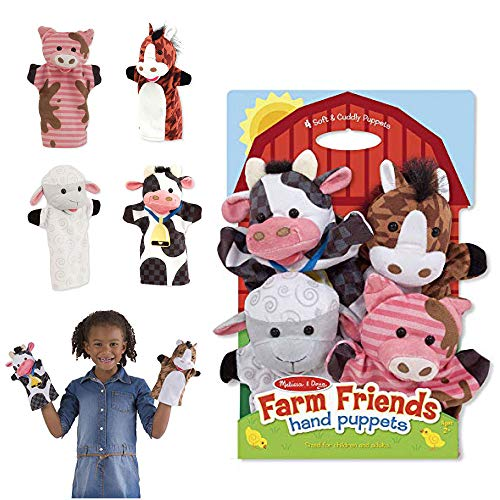 Melissa & Doug 9080 Farm Friends Hand Puppets (Set of 4) - Cow, Horse, Sheep, and Pig