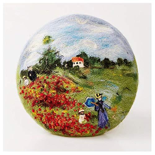 Hat Tages Zubehör Wide Brim Mode Landschaft Frauen Malerei Winter-Hut Will ökologische Cartoon ursprünglichen handgemachtes Wollfilz (Color : 1, Size : 56-58CM)