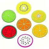 FülleMore 7 Stück Lustig Glasuntersetzer Silikon Frucht Untersetzer kreative Früchte Getränkenuntersetzer 9cm Rund Untersetzer für Küche Bar Gläser Tassen Kaffeebecher Tee