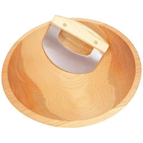 "15"" Hardwood Chopping Bowl & Mezzaluna Ulu, Handcrafted in the USA, #1 Quality Salad Bowl"
