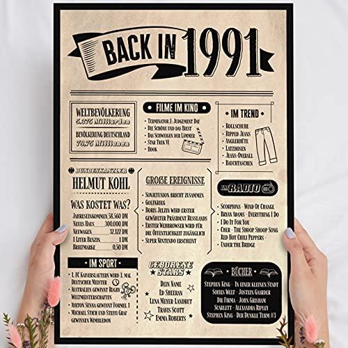 Holzbild: Alte Zeitung - Geschenk 30 Geburtstag Back in 1991 Vintage - personalisierbar zum Hinstellen/Aufhängen optional beleuchtet, 30 Geburtstag Frau - Wand-Bild Aufsteller - persönliches Geschenk
