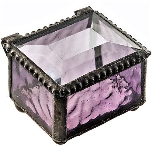 Scatola per anelli in vetro piccolo per gioielli di matrimonio, anello di fidanzamento o di fidanzamento con espositore, regalo in vetro colorato viola J Devlin Box 325-2