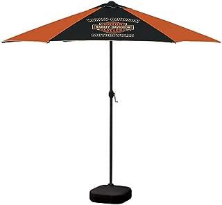 HARLEY-DAVIDSON Bar & Shield Patio Umbrella, 8ft Pole, Orange & Black UMB302646