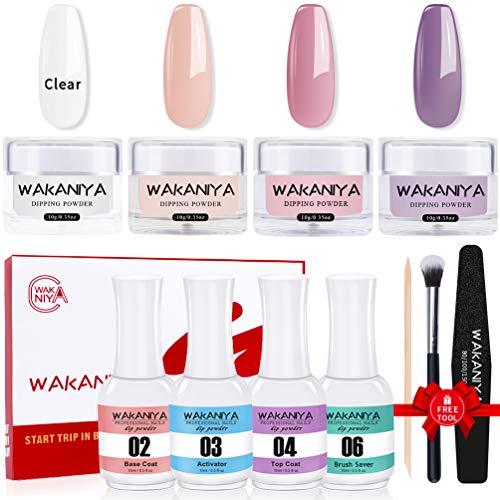 wakaniya Dip Powder Nail Kit,4 Colors Pink Clear Dipping Powder Nail Starter Kit,Acrylic Dip Nail Powders and Liquid System for DIY Dip Manicure Set with Free Tools,No UV/LED Lamp Need