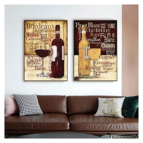 CCZWVH Cocina Moderna Pinturas de Lona Copas de Vino Tinto Botella de Botella Arte de la Pared para Sala de Estar Decoración de Pared Cuadros 20x28x2 Inch Sin Marco