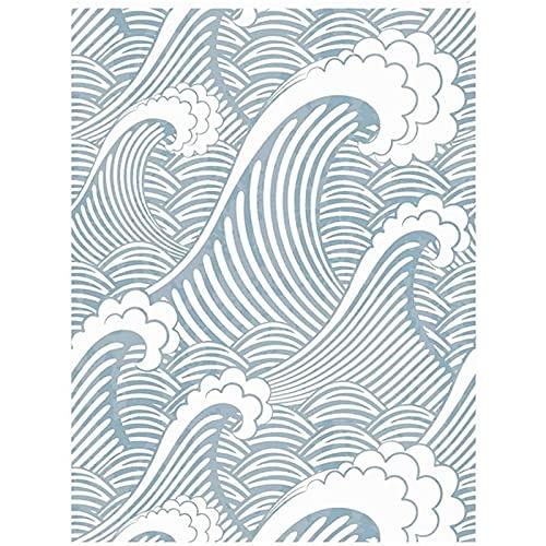 Papel tapiz Etiquetas engomadas de la pared Pelar y palo Handpainting Fresco de pintura Azul Blanco Ondas Spray Autoadhesivo Prepasado Impermeable Papel Pintado Fondo Mural Decoración Papel de Pared