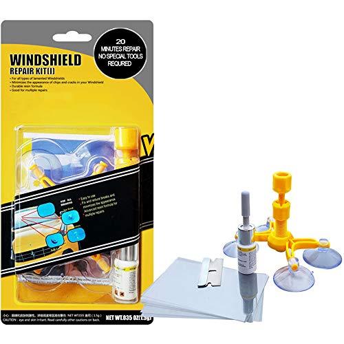 Einzigartiges WElinks Reparaturset für Autofenster, Glas-Windschutzscheibe, Reparatur-Set für zerbrochene Scheiben, gelb