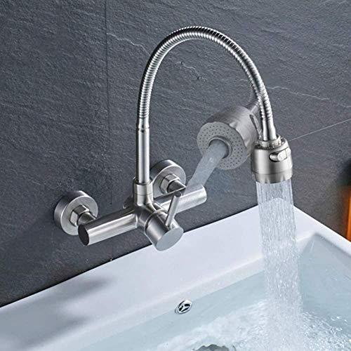 TNR Rubinetto montaggio a parete rubinetto da cucina monocomando canna erogazione spray beccuccio miscelatore bagno nichelato spazzolato caldo e freddo gru