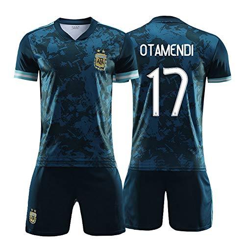 LYKH Otamendi 17# 20-21 Argentinien Heim- und Auswärtsfußballtrikots für Herren - Sommer-Kurzarm-Wettkampf für Erwachsene Teamuniform 2-teiliges Set-Geschenk S-XXL- Away-S (165~170CM)