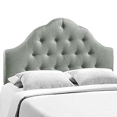Modway Sovereign King Upholstered Linen Headboard in Gray