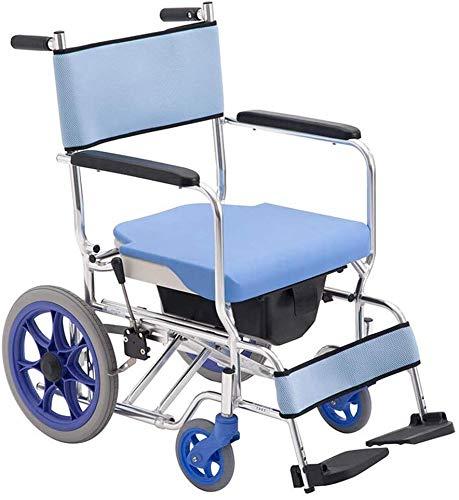 SISHUINIANHUA Multifunktionale tragbare Mobile Wheeled WC Rollstuhl, Faltbare Dusche Transport Stuhl, Aluminium-Legierung Material, mit Fußstützen, Handbremse und Bein-Auflagen