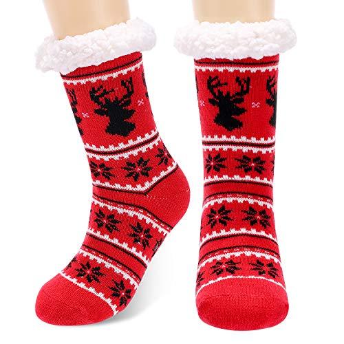 Calmare Mujeres zapatillas calcetines, señoras acogedor suave deslizamiento deslizador calcetines de cama, Navidad copo de nieve alces zapatillas calcetines para mujeres niñas (Rojo)