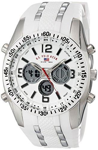U.S. Polo Assn Sport Herren US9282 Silberfarbene Armbanduhr mit weißem Silikonband