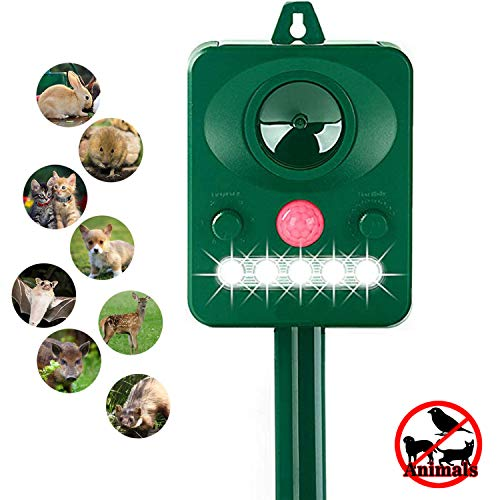 ZYYRSS Solar Animal Repeller, Solar Powered Repellent with Motion Sensor and Red Flashing Lights Outdoor Waterproof for Skunks, Dogs, Foxes, Birds, Rodents