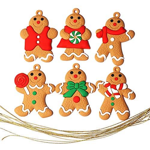 Volking Lebkuchenmann 6 Stücke Weihnachtsbaum Anhänger Dekoration, Christbaumanhänger Lebkuchenmännchen Weihnachtsfigur Weihnachtsdeko zum Aufhängen