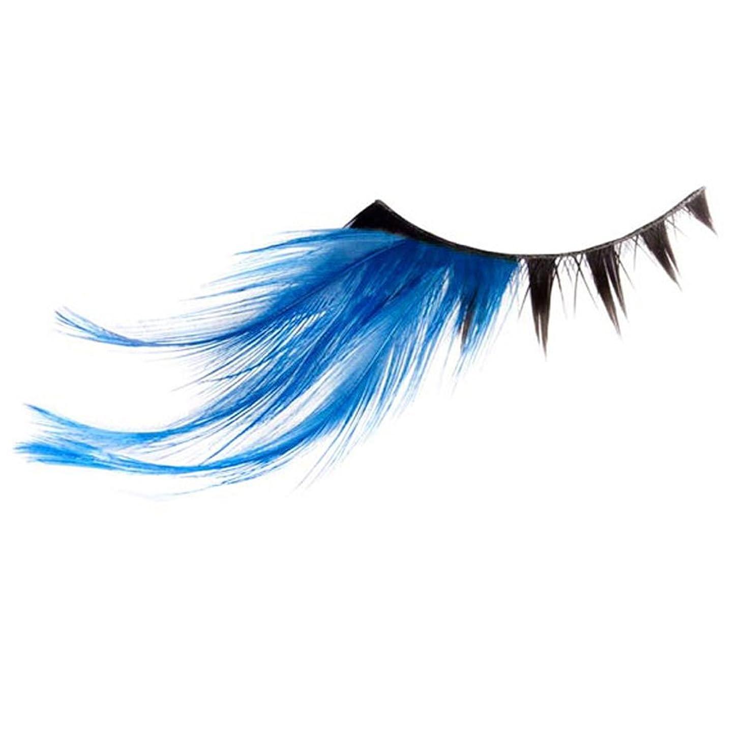 がんばり続ける資金気がついてつけまつげ 羽つき フェザー付き グラマラスラッシュ ピンク ブルー ブラック アメリカ輸入 (ブルー)
