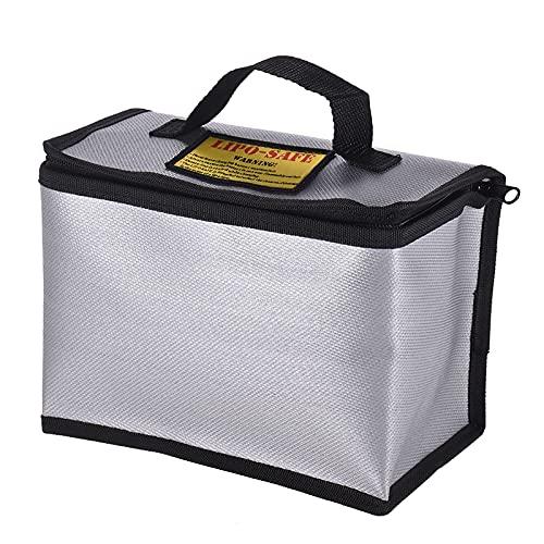 IKAYAAA Bolsa a Prueba de explosiones ignífuga de la batería Segura de Lipo Bolsa portátil Resistente al Calor Bolsa para la Carga y el Almacenamiento de la batería 215 * 115 * 155 mm