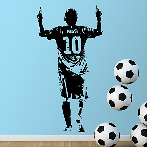 Wall Art Sticker Decal Quotes Vinyl Wall Decals Lionel Messi Figure Football Star for Boys Room
