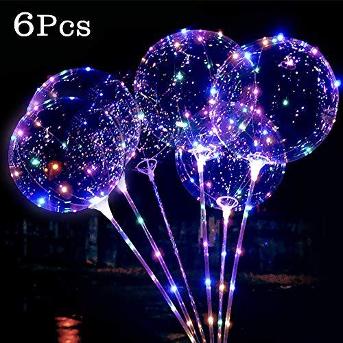 6 Piezas Bobo Globos de Románticos con Luces Globo de luz LED Globos Transparentes de Decoración para Decoraciones de Bodas / Fiestas / Eventos