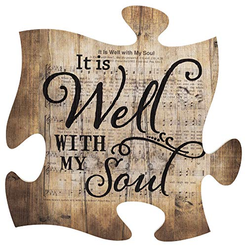 P. Graham Dunn It is Well with My Soul Sheet Music Design 12 x 12 Inch Wood Puzzle Piece Wall Plaque