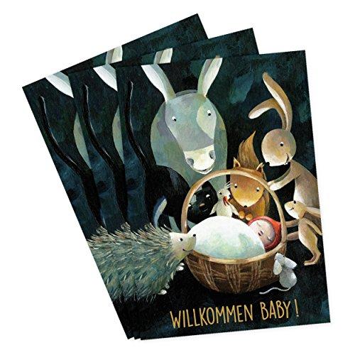 3er Set Glückwunschkarten zur Geburt von Aurélie Blanz Motiv Willkommen Baby mit Goldfolienprägung