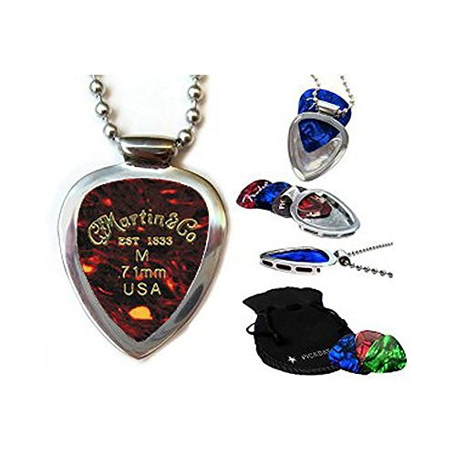 Guitar Pick Holder Pendant Necklace Pickbay Stainless Steel w MARTIN guitar picks & Bigger Ball Chain Necklace & Pick Set (Authentic)