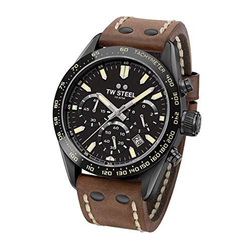 TW Steel Unisex Erwachsene Chronograph Quarz Uhr mit Leder Armband CHS1