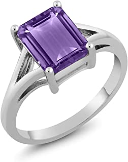 Gem Stone King 925 Sterling Silver Emerald Cut Amethyst Gemstone Birthstone Women's Solitaire Ring 2.25 Cttw (Available 5,6,7,8,9)