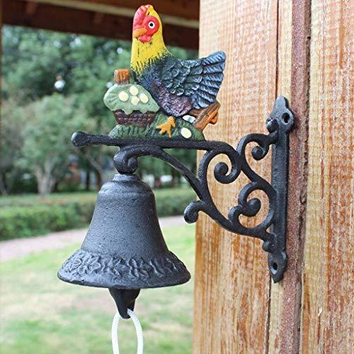 FGA Windspiele Schmiedeeisen Türklingel Garten Wanddekoration Türklingel schöne Dekoration kreative Retro Handglocke 17x8x17cm Gusseisen Türklingel
