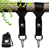 Anyoo Tree Swing Straps Kit Colgante, Durable 150CM Largo × 5CM Correas Anchas, carabiners de Acero Resistente, fácil y rápido, Bueno para los Columpios y hamacas