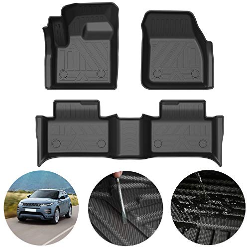 Alfombrillas de Goma para Land Rover Range Rover Evoque 2020 Alfombrillas Antideslizantes para Todo Clima TPE Almohadilla de Protección Interior del Coche Personalizada Negro