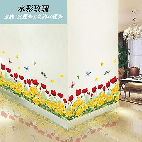 Pegatinas de pared papel de pared decorativo autoadhesivo diseño de pared pegatinas de esquina-Acuarela rose_in