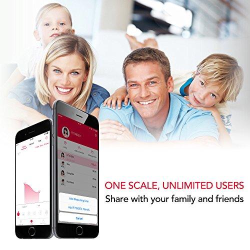 FITINDEX Bilancia Digitale Bilancia Pesapersone, Impedenziometrica Intelligente Bluetooth, 13 Funzioni, Analisi Composizione Corporea con App per Massa Grassa, BMI, Grasso Viscerale, Bianca