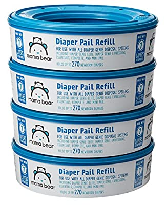 Amazon Brand - Mama Bear Diaper Pail Refills for Diaper Genie Pails, 1080 Count (Pack of 4)
